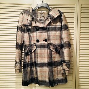 Guess Brand Plaid Peacoat